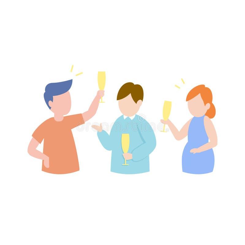 Amigos felices que tienen concepto del partido, champán de consumición alegre de la gente joven libre illustration