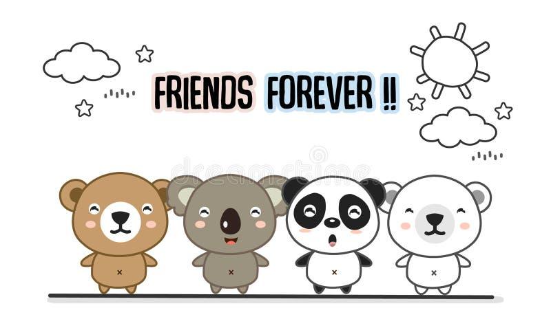 Amigos felicitación para siempre la tarjeta con los pequeños animales Ejemplo lindo del vector de la historieta de los osos stock de ilustración