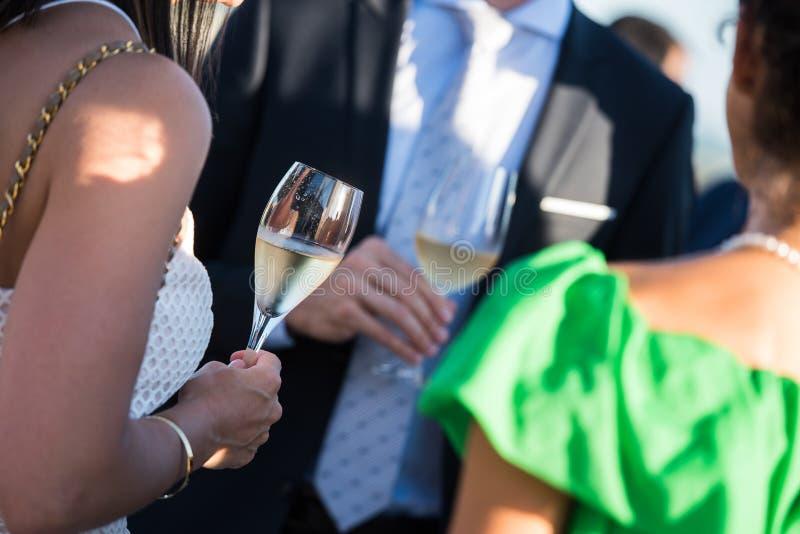 Amigos felizes com vidros do champanhe imagens de stock