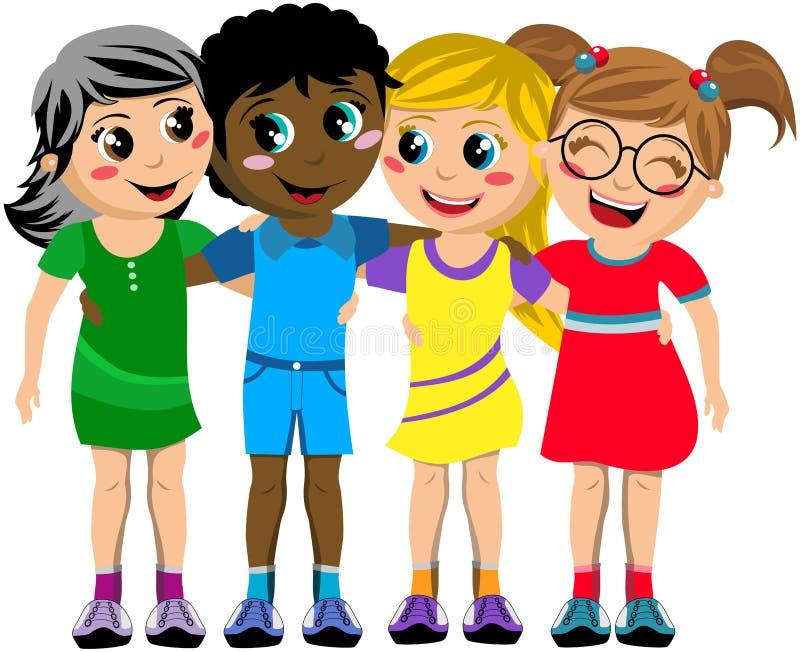 Amigos felizes do abraço da criança das crianças do grupo isolados ilustração do vetor