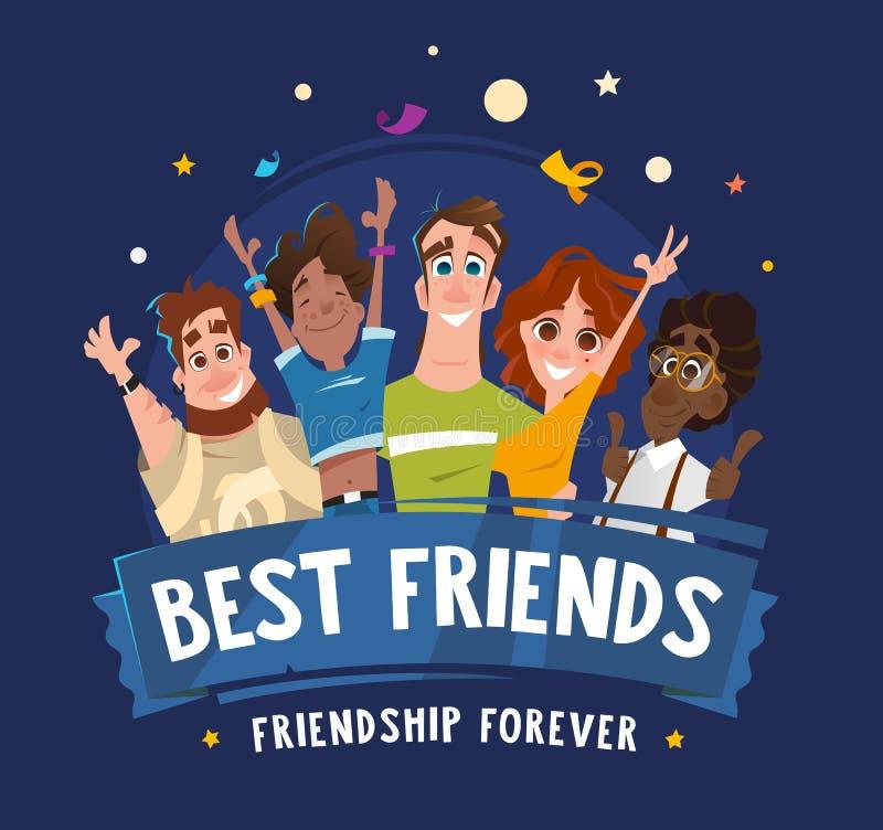 Amigos felizes dos estudantes dos adolescentes do sorriso da equipe do grupo ilustração do vetor