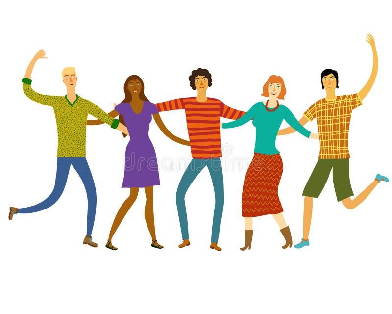 Amigos felizes junto ilustração royalty free