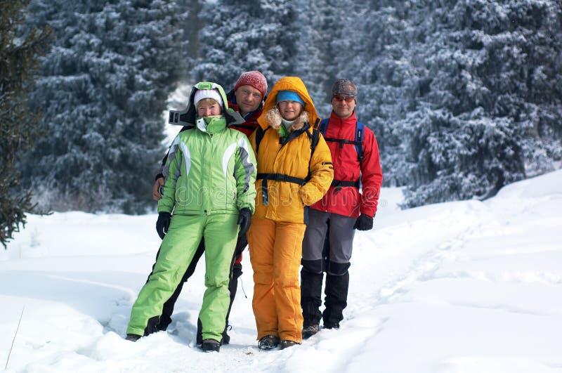 Amigos felizes na floresta do inverno foto de stock royalty free