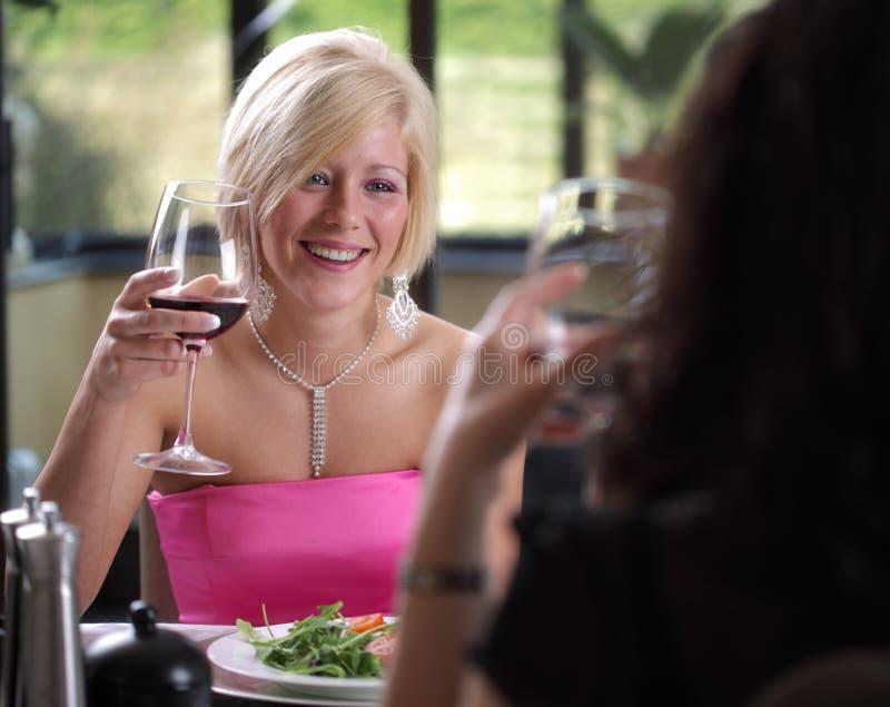 Amigos felizes na tabela dinning imagem de stock royalty free
