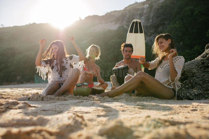 Amigos felizes que apreciam férias na praia fotos de stock royalty free