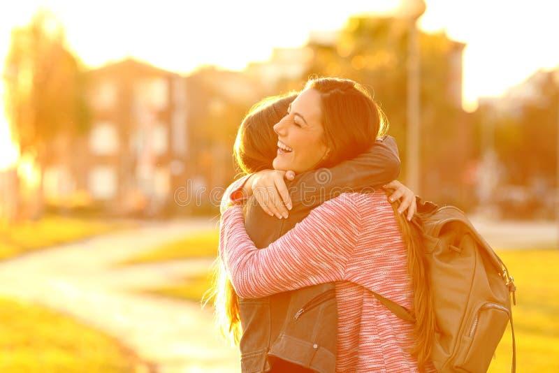 Amigos felizes que encontram-se e que abraçam em um parque no por do sol fotos de stock