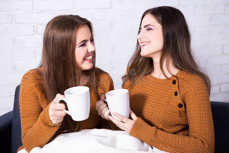 Amigos felizes que falam e que bebem o café ou o chá fotos de stock royalty free