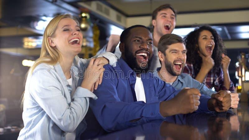 Amigos felizes que olham esportes na barra, jogo de vencimento de j?bilo, atividade de lazer fotos de stock royalty free