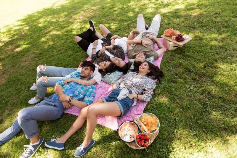Amigos felizes que refrigeram na cobertura do piquenique no verão fotografia de stock