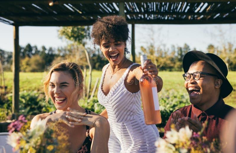 Amigos felizes que têm o divertimento durante um partido fotografia de stock