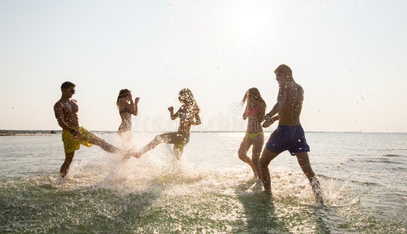 Amigos felizes que têm o divertimento na praia do verão imagens de stock