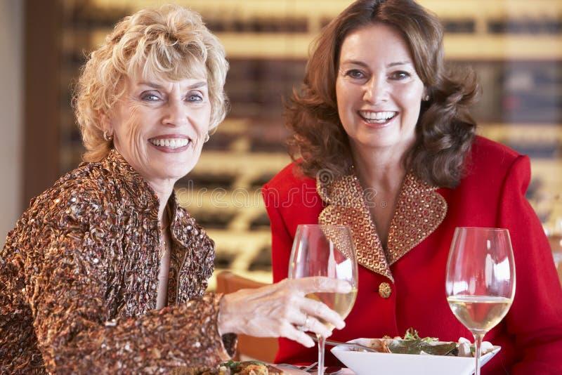 Amigos femeninos que cenan en un restaurante foto de archivo libre de regalías