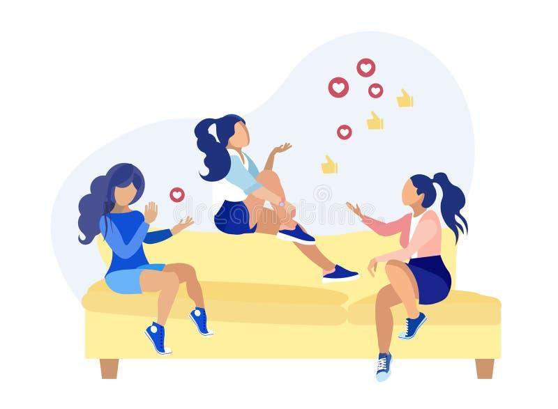 Amigos femeninos que discuten la historieta social de la red libre illustration