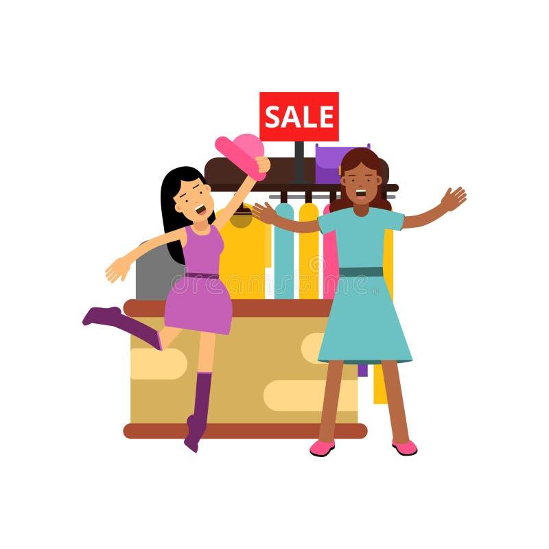 Amigos femeninos que hacen compras en la tienda de ropa, luchando sobre la ropa en venta ilustración del vector