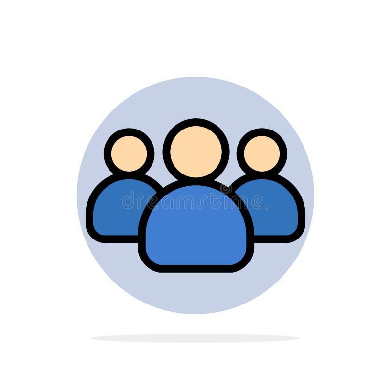 Amigos, grupo, usuários, ícone da cor de Team Abstract Circle Background Flat ilustração stock