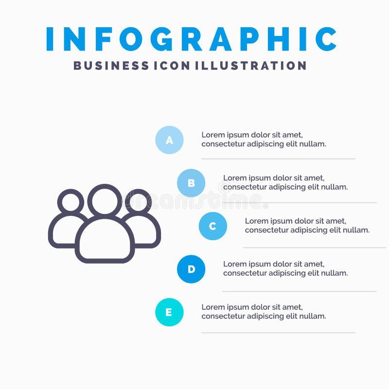 Amigos, grupo, usuários, ícone de Team Line com fundo do infographics da apresentação de 5 etapas ilustração do vetor