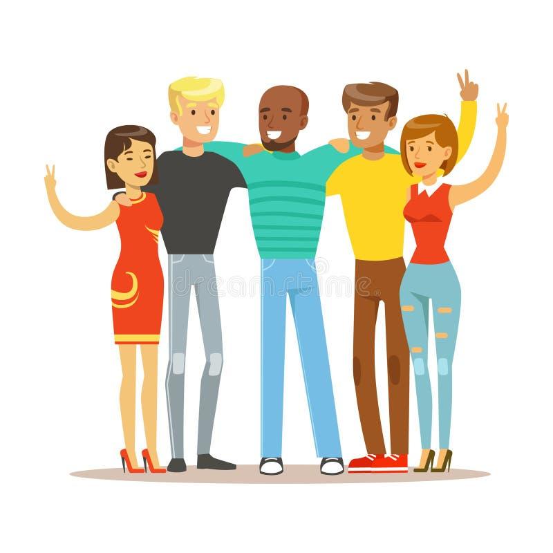 Amigos jovenes de toda la en todo el mundo colocación de abrazo, ejemplo internacional feliz de la historieta del vector de la am ilustración del vector