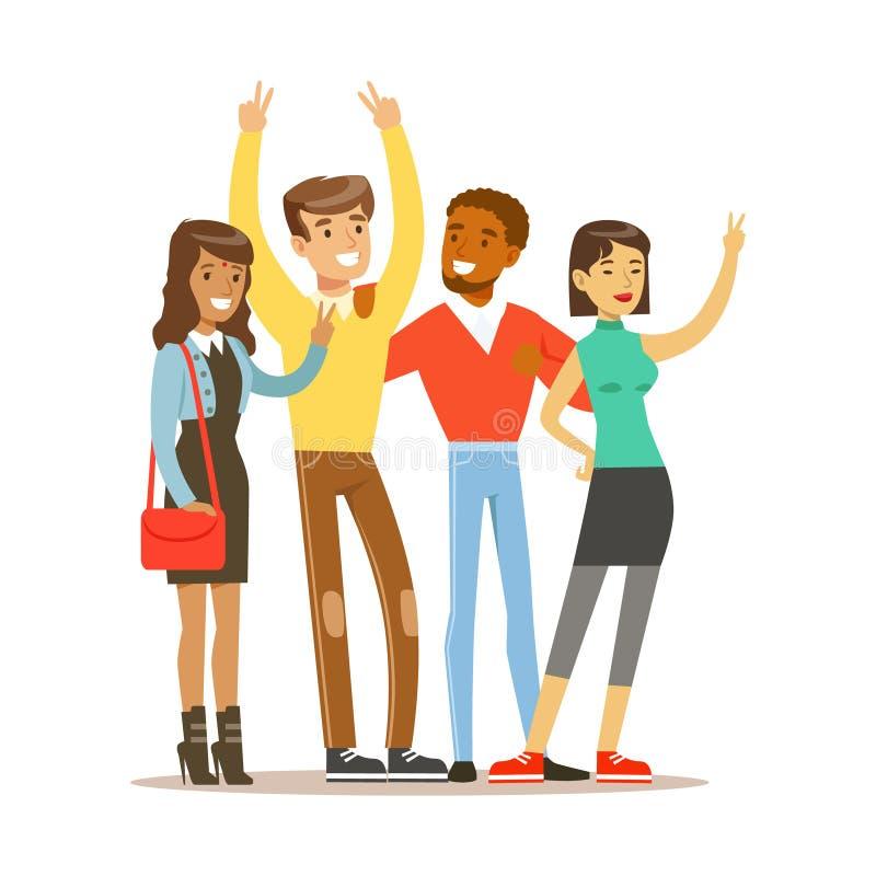 Amigos jovenes de toda la en todo el mundo colocación para tomar la imagen, historieta internacional feliz del vector de la amist ilustración del vector
