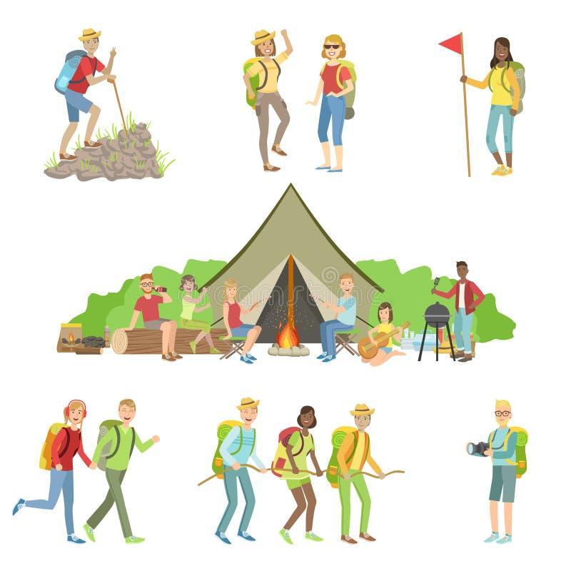 Amigos jovenes en caminar el sistema del viaje stock de ilustración