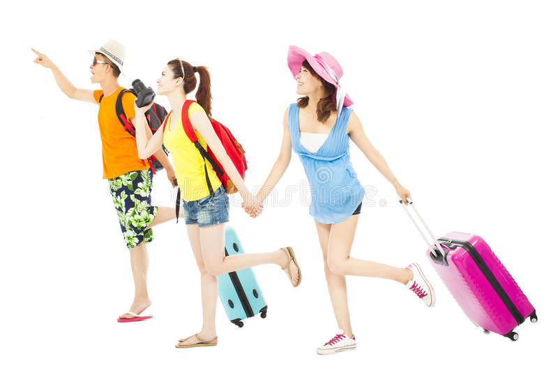 Amigos jovenes felices de viajar por todo el mundo junto fotos de archivo