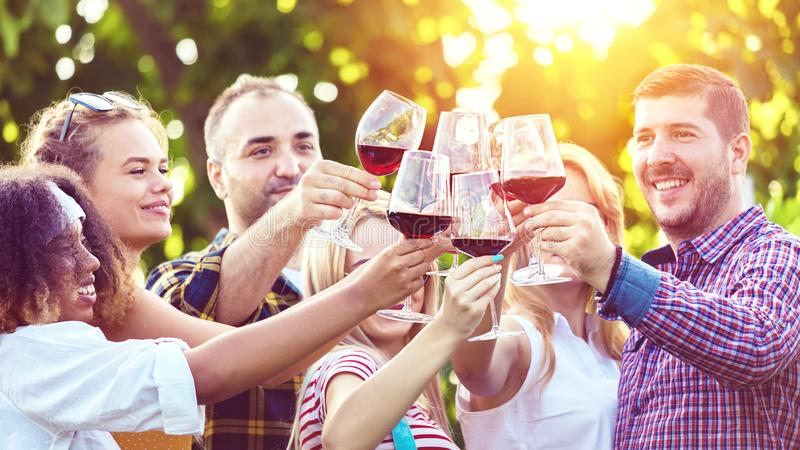 Amigos jovenes multirraciales que disfrutan del tiempo de cosecha junto en el vino tinto de consumición del lagar de la casa de l fotografía de archivo