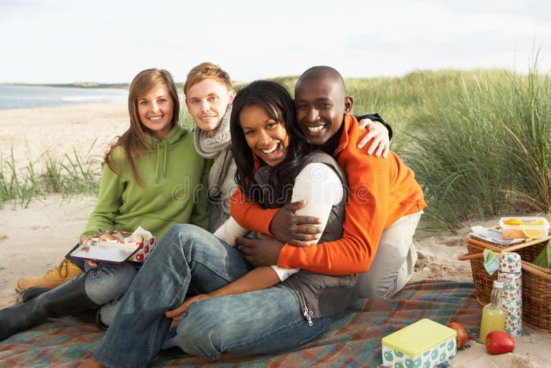 Amigos jovenes que disfrutan de comida campestre en la playa imagenes de archivo