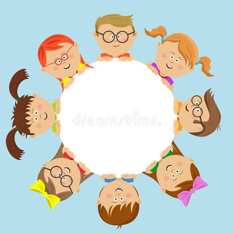 Amigos lindos de los niños alrededor del círculo blanco ilustración del vector