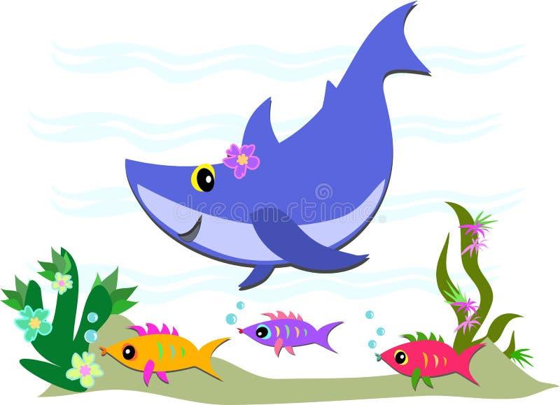 Amigos lindos del tiburón azul y de los pescados libre illustration