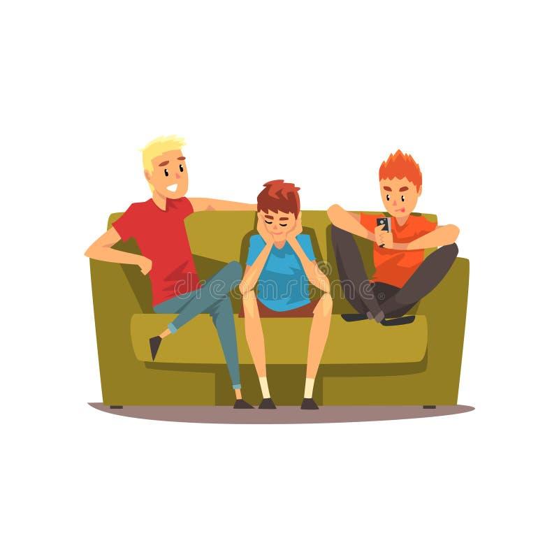 Amigos masculinos que passam o tempo junto, indivíduos que sentam-se em um sofá e que falam, ilustração do vetor do conceito dos  ilustração stock