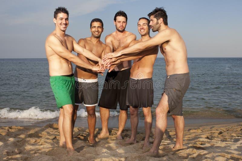 Amigos masculinos que se divierten en la playa foto de archivo libre de regalías