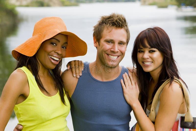 Amigos no lago imagem de stock royalty free