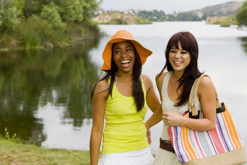 Amigos no lago foto de stock royalty free