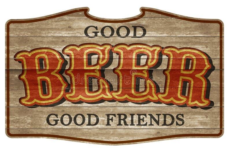 Amigos ocidentais idosos da chapa de madeira do sinal da cerveja foto de stock