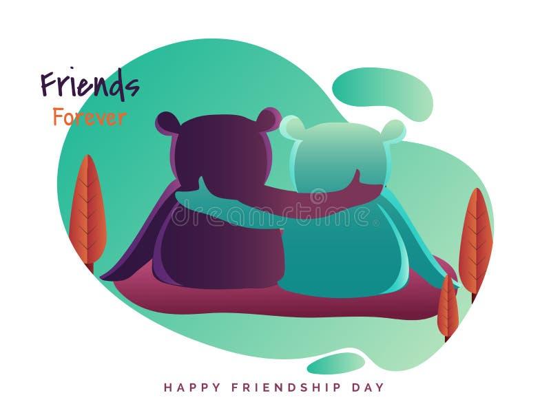 Amigos para siempre, diseño de la tarjeta de felicitación con el oso dos que abraza cada uno libre illustration