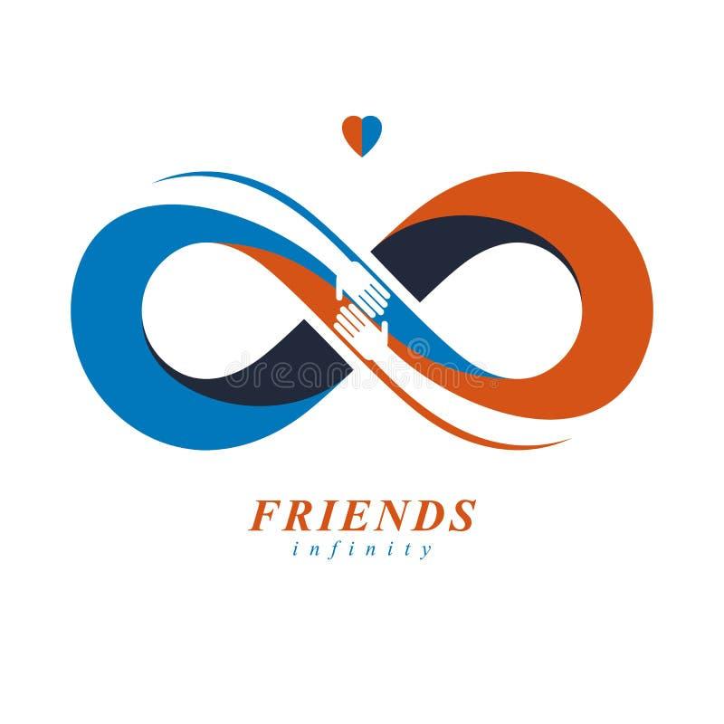 Amigos para siempre, peine inusual del logotipo del vector de la amistad eterna stock de ilustración