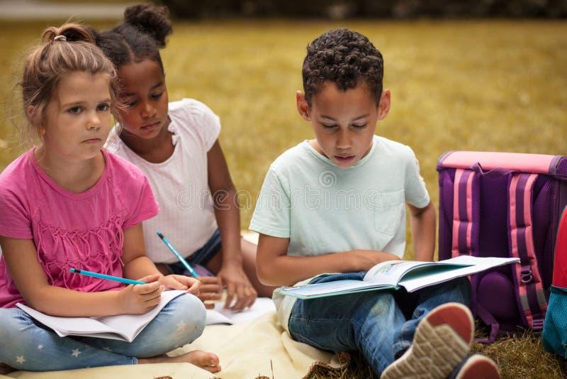 Amigos pequenos na natureza que colore um livro junto foto de stock royalty free