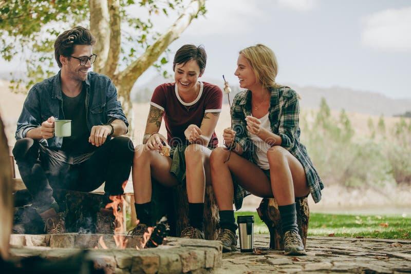 Amigos que acampan en el campo que tuesta la comida en hoguera foto de archivo libre de regalías