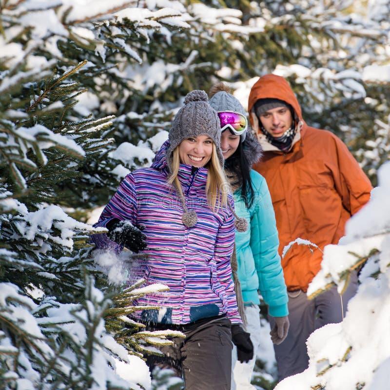Amigos que andam através da floresta do inverno da neve imagens de stock royalty free