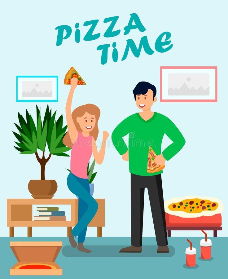 Amigos que apreciam a ilustração lisa do vetor da pizza ilustração stock