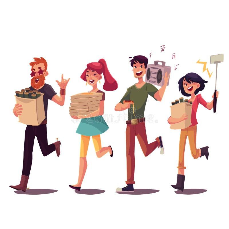 Amigos que apressam-se para party, buscando a cerveja, pizza, música, fazendo o selfie ilustração stock