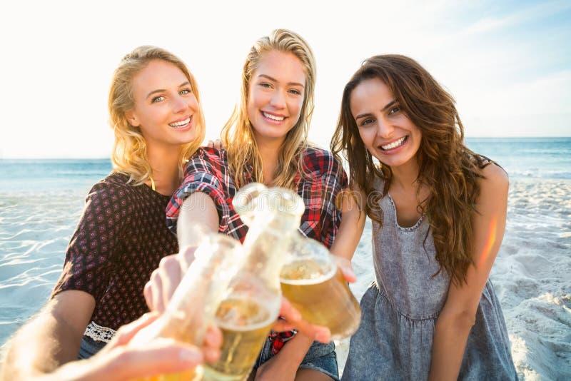 Amigos que brindam na praia foto de stock royalty free