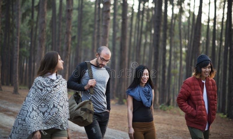 Amigos que caminan a través del bosque imágenes de archivo libres de regalías