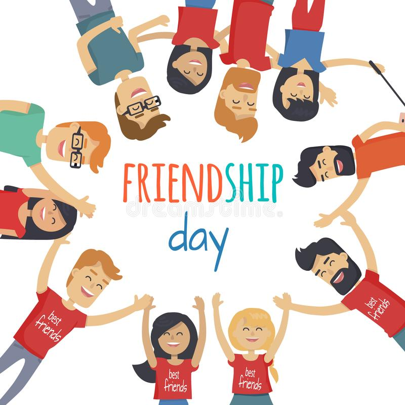 Amigos que comemoram o conceito do vetor do dia da amizade ilustração do vetor