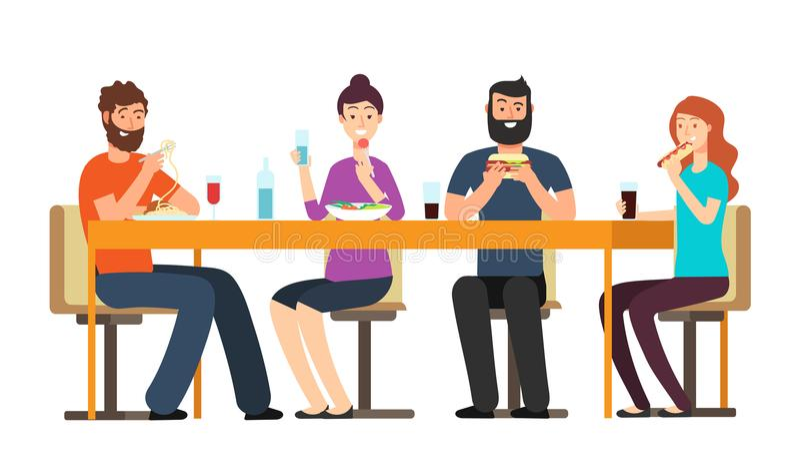 Amigos que comen los bocados El grupo amistoso de la gente cena en el escritorio en restaurante Caracteres del vector de la histo ilustración del vector