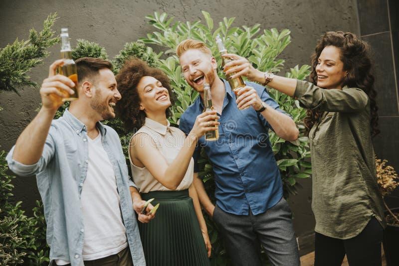 Amigos que comen tostada al aire libre de la fiesta de jardín con la sidra alcohólica d fotos de archivo libres de regalías