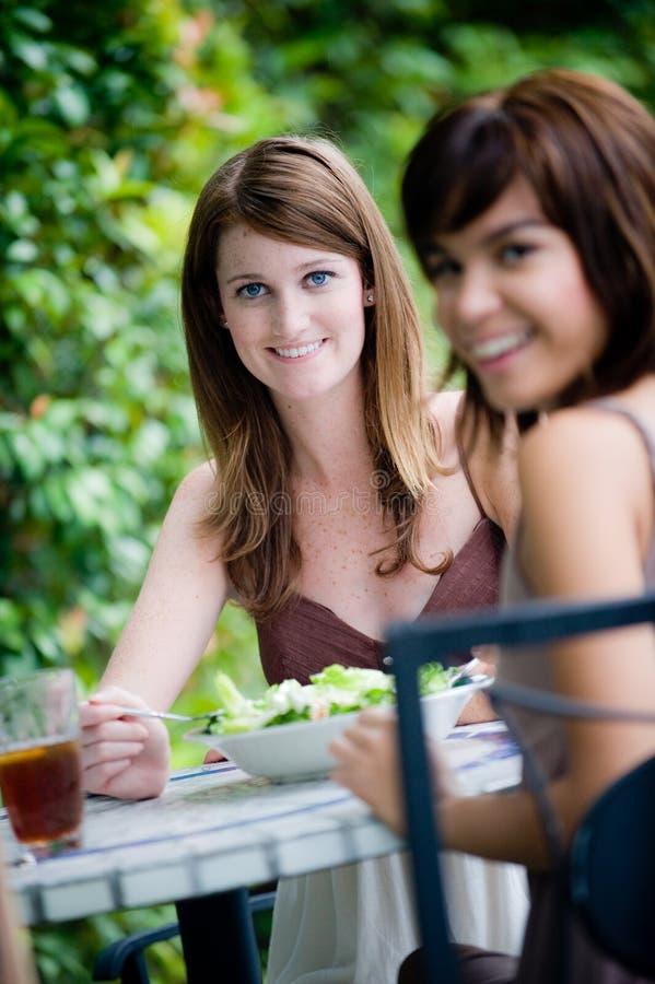Amigos que compartilham do almoço imagem de stock