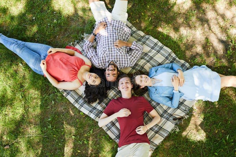 Amigos que disfrutan de comida campestre del verano en hierba fotos de archivo