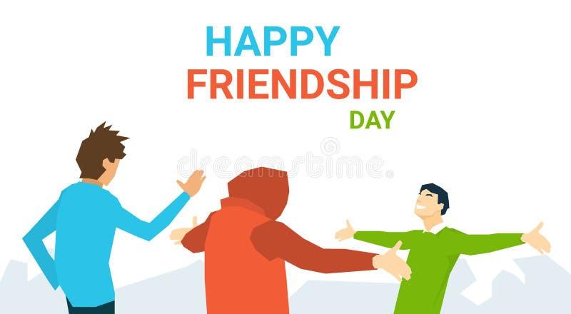 Amigos que encontram-se abraçando a bandeira feliz do dia da amizade ilustração do vetor