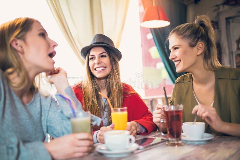 Amigos que gozan en la conversación y el café de consumición imagen de archivo