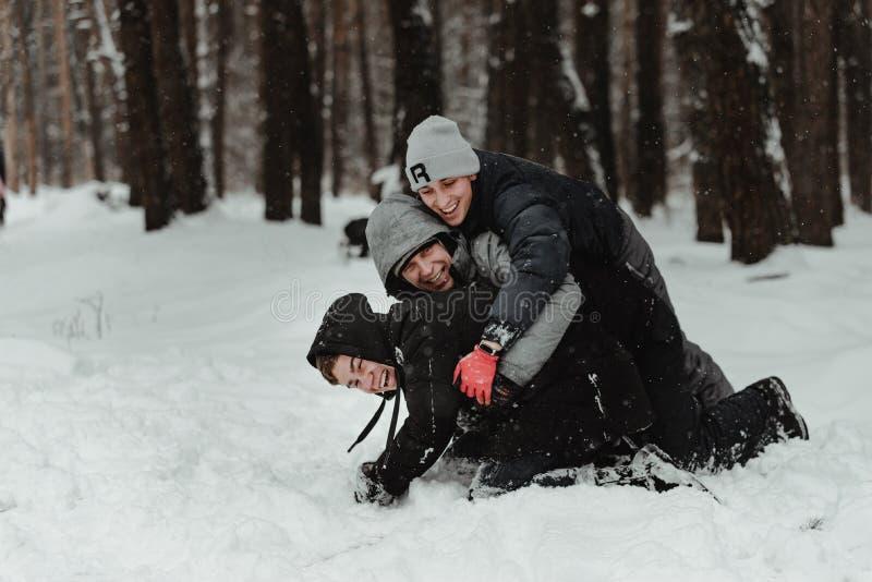 Amigos que jogam com neve no parque foto de stock royalty free